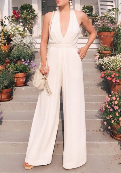 White Irregular Sewing High Waisted Casual School Appropriate Long Jumpsuit