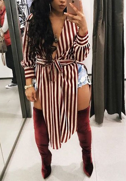 Red Striped Sashes Side Slit V-neck Casual Party Midi Dress