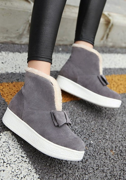 Grey Round Toe Heavy-Soled Bow Casual Boots