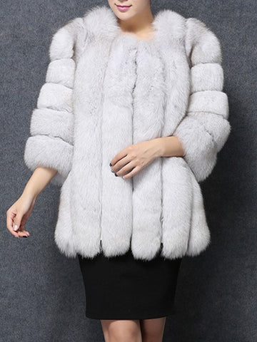 White Patchwork Faux Fur Collarless Long Sleeve Fashion Outerwear