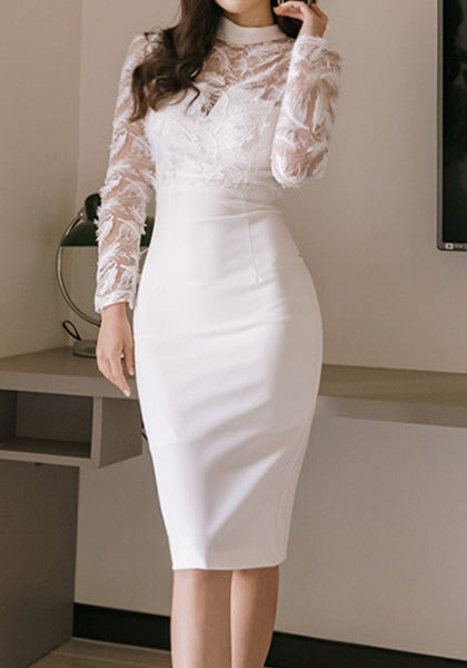 White Patchwork Zipper Feather Band Collar Long Sleeve Bodycon Midi Dress