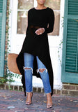 Black Draped Belt Swallowtail High-low Round Neck Long Sleeve Casual Maxi Dress