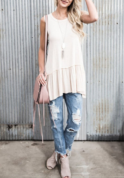 Apricot Ruffle Draped Round Neck Casual Loose Vest