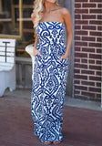 White Floral Bandeau Off Shoulder Draped Pockets Fashion Maxi Dress