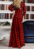 Red Plaid Draped Sashes Pockets Round Neck Long Sleeve Maxi Dress