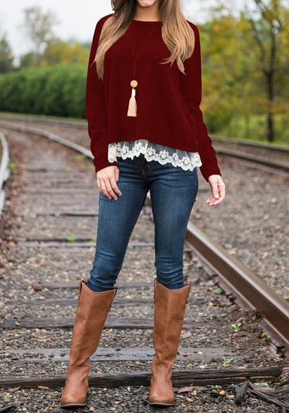 Wine Red Patchwork Lace Round Neck Sweet Cotton T-Shirt