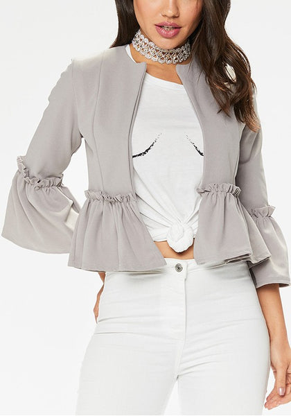 Grey Ruffle Round Neck Three Quarter Length Sleeve Casual Coat