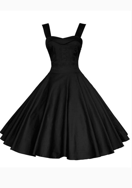 Black Pleated Shoulder-Strap Backless Tutu Banquet Hepburn Elegant Party Midi Dress