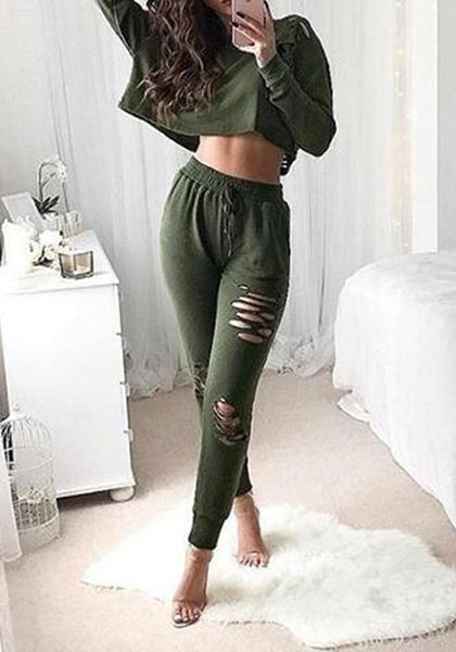 Green Plain Cut Out 2-in-1 Fashion Long Jumpsuit