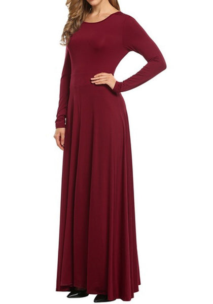 Wine Red Draped Round Neck Long Sleeve Casual Maxi Dress