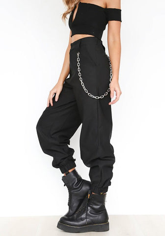 Black Chains Pockets Drawstring Zipper High Waisted Going Out Casual Long Pants