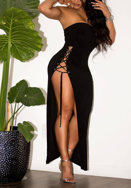 Black Bandeau Backless Off Shoulder Slit Side Lace-up Club Homecoming Maxi Dress