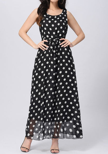 Black-White Polka Dot Belt Double-deck Sleeveless Elegant Maxi Dress