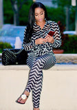 Black-White Striped Pockets Turndown Collar Two Piece Casual Long Jumpsuit