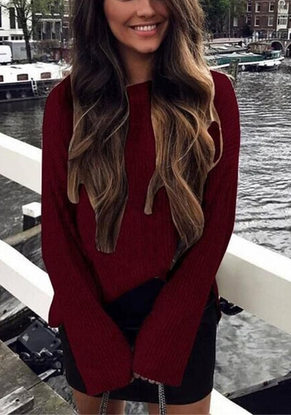 Wine Red Plain Side Slit Long Sleeve Fashion Pullover Sweater