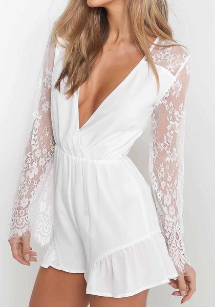 White Patchwork Lace Ruffle Elastic Waist Casual Short Jumpsuit