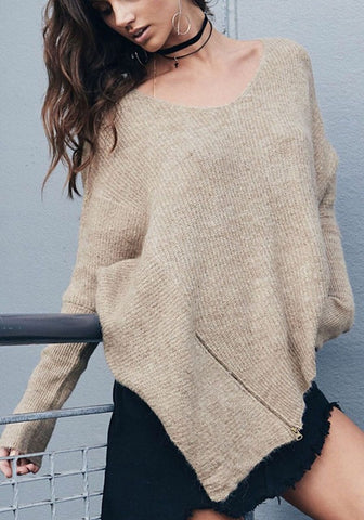Apricot Irregular Zipper Oversize Long Sleeve Pullover Sweater