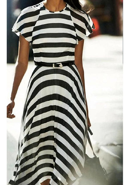 White Black Striped Print Irregular Loose Casual Maxi Dress