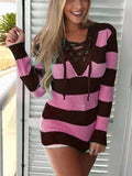 New Pink Striped Lace-Up Drawstring V-neck Casual Pullover Sweater