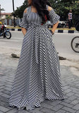 Black Striped Zebra Print Embroidery Ruffle High Waisted Mexican Elegant Party Maxi Dress