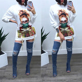 White Cartoon Print Lace-up Round Neck Long Sleeve Casual T-shirt Mini Dress