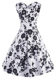 Black Floral Print V-neck Sleeveless Knee Length Vintage Midi Dress