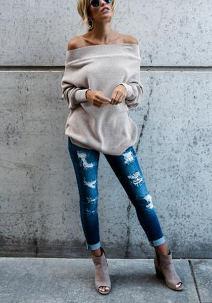 Silver Grey Cut Out Irregular Round Neck Casual Pullover Sweater