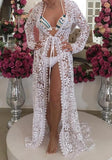 White Floral Lace Cut Out Deep V-neck Beach Cover-Up Bikini Smock
