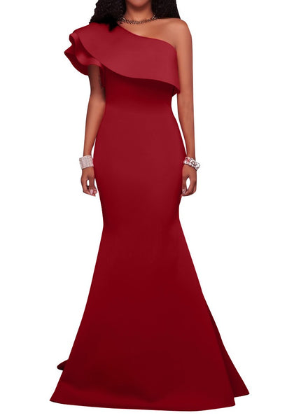 Burgundy Asymmetric Shoulder Backless Ruffle Trumpet Party Elegant Maxi Dress