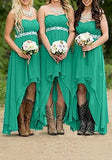 Green Irregular Draped Off Shoulder High-Low Bridesmaid High Waisted Party Maxi Dress