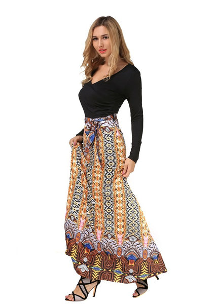 Black Patchwork Pattern V-neck National Knit Maxi Dress