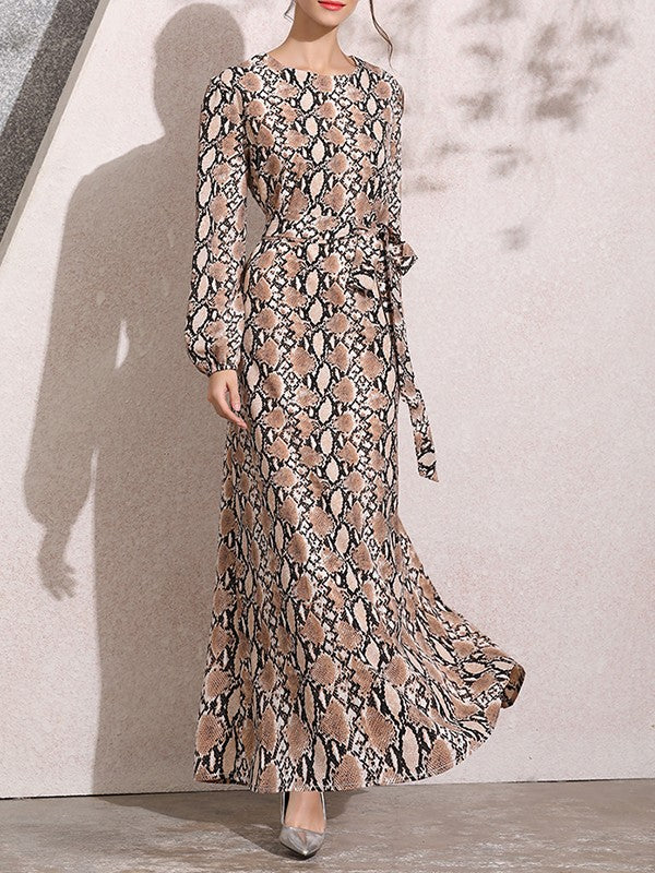 Brown Floral Tribal Print One Piece Loose Ankle Length Round Neck Long Sleeve Elegant Prom Maxi Dress