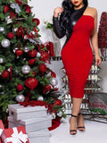 Red Patchwork PU Leather Long Sleeve Round Neck Hip Bodycon Clubwear Fashion Midi Dress