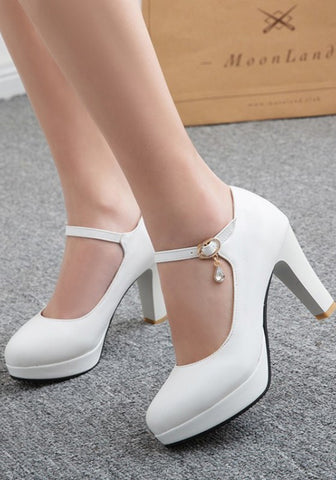 White Round Toe Chunky Buckle Rhinestone High-Heeled Shoes