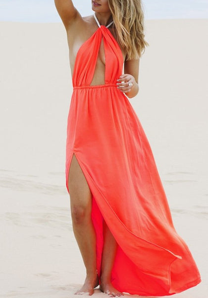 Red Plain Cut Out Tie Back Maxi Dress
