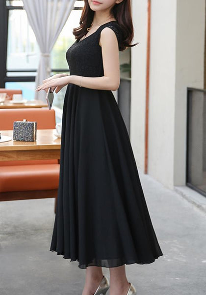 Black Patchwork Draped Lace Grenadine Comfy Polyester Party Maxi Dress