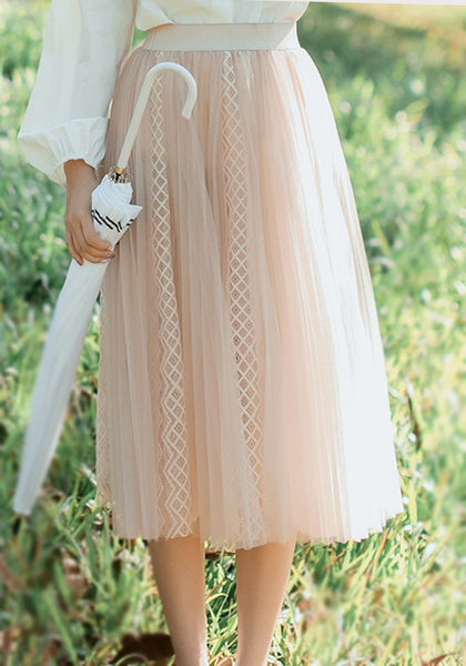 Apricot Grenadine Pleated High Waisted Sweet Cute Going out Skirt
