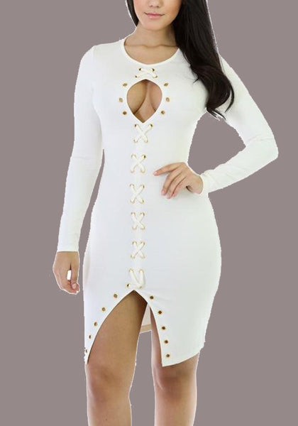 White Cut Out Lace-up Front Slit Clubwear Party Long Sleeve Midi Dress