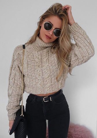 Khaki Plain Crop High Neck Long Sleeve Fashion Pullover Sweater