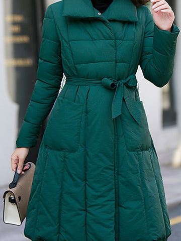 New Dark Green Belt Pockets Double Breasted Turndown Collar Fashion Outerwear