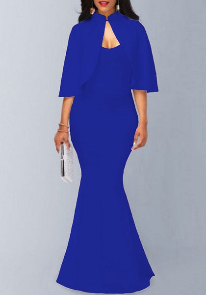 Sapphire Blue Mermaid Spaghetti Straps Cape Two Piece Party Elegant Maxi Dress