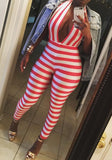 Red White Striped Halter Neck Backless Deep V-neck Clubwear Long Jumpsuit