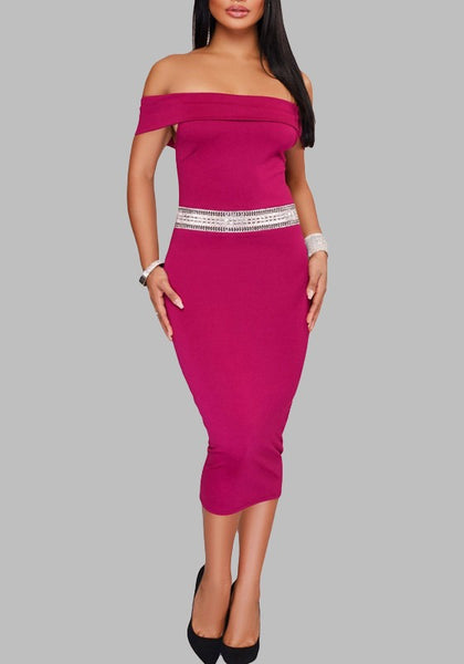 Rose Carmine Patchwork Zipper Rhinestone Bodycon Off Shoulder Cocktail Party Elegant Midi Dress