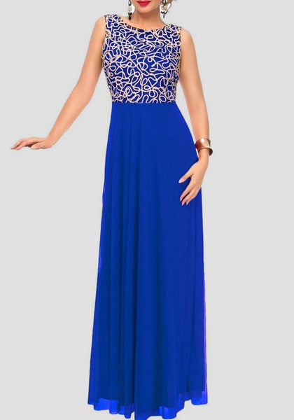 Blue Patchwork Grenadine Draped Sleeveless Elegant Cocktail Party Maxi Dress