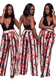 Red Floral Print Pockets High Waisted Bohemian Wide Leg Long Pants