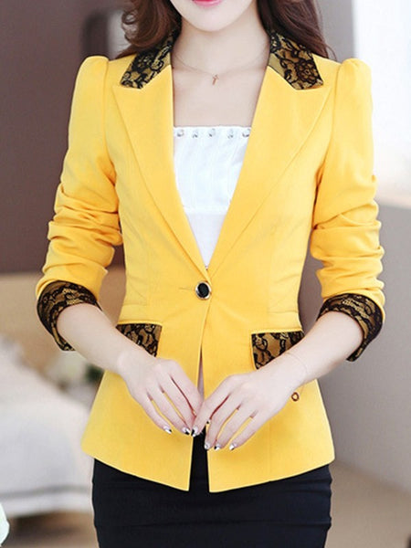 Yellow Patchwork Lace Buttons Tailored Collar Fashion Outerwear