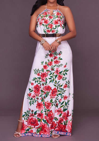 Multicolor Flowers Print Tie Back Draped Backless Halter Neck Bohemian Maxi Dress