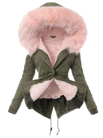 New Army Green Pink Patchwork Drawstring Buttons Hooded Casual Outerwear