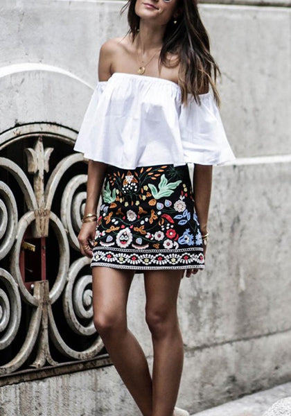 Black Embroidery Tribal Print A-Line Mexican Cute Sweet Skirt