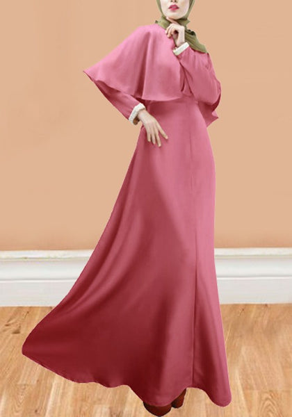 Pink Draped Cape Round Neck Long Sleeve Muslim Maxi Dress